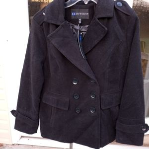 New I.B. Diffusion Black Wool Pea Coat Size Medium
